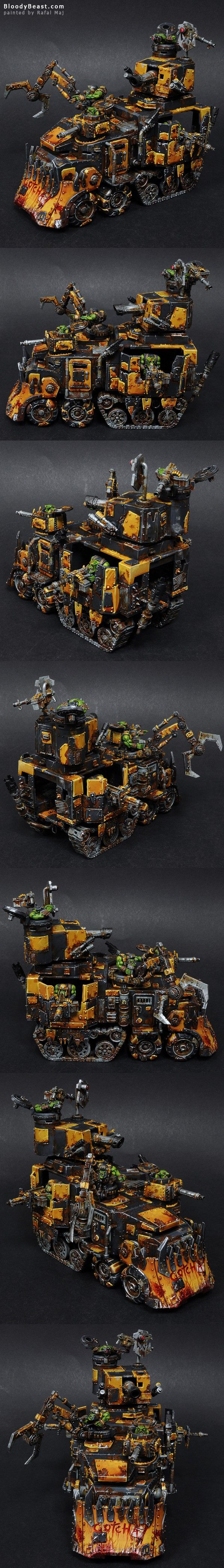 Ork Battlewagon of the Bad Moons Tribe.