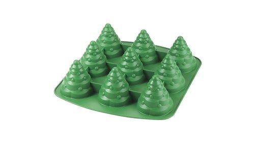 Silikone bageform til 9 små 3D juletræer , muffins