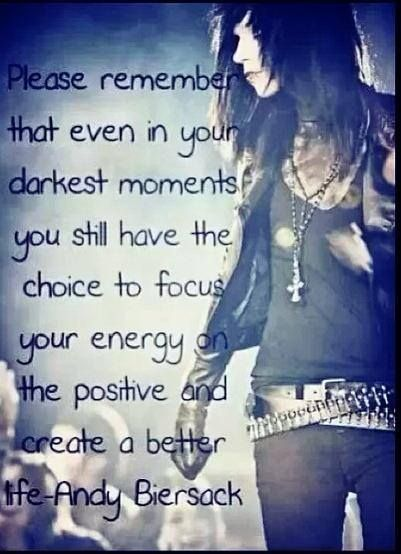 Andy Biersack Quote... Thank you Andy, for teaching me to never give in, never back down along with the rest of Bvb :3