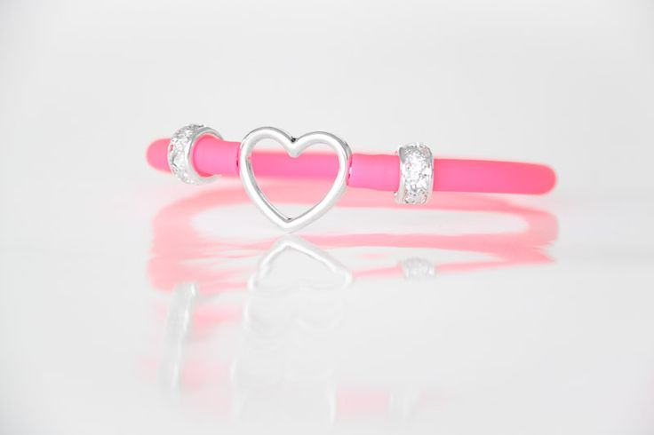 Heart Bracelet with Pink Tube Strap - Teelee - A Bits & Bobs Brand