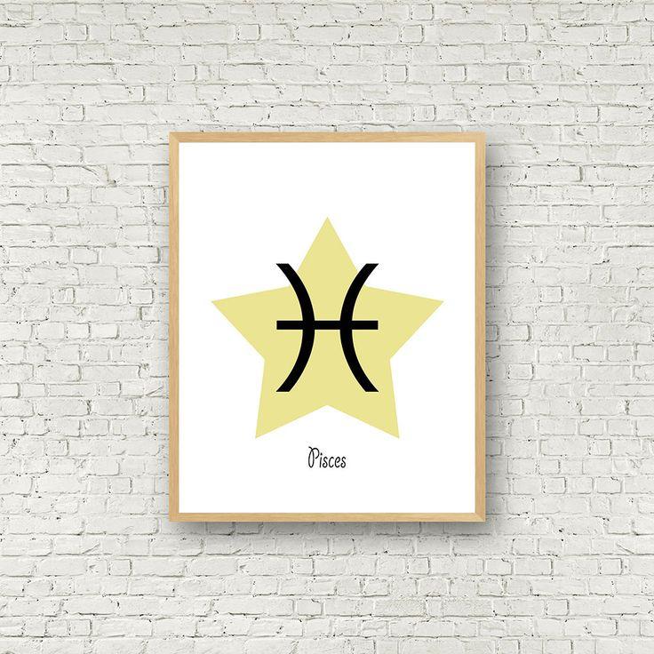 Signe du poisson, signe zodiaque à imprimer, horoscope poisson, cadeau d'anniversaire, téléchargement instantané, poster signes du zodiaques de la boutique MamzelleJules sur Etsy
