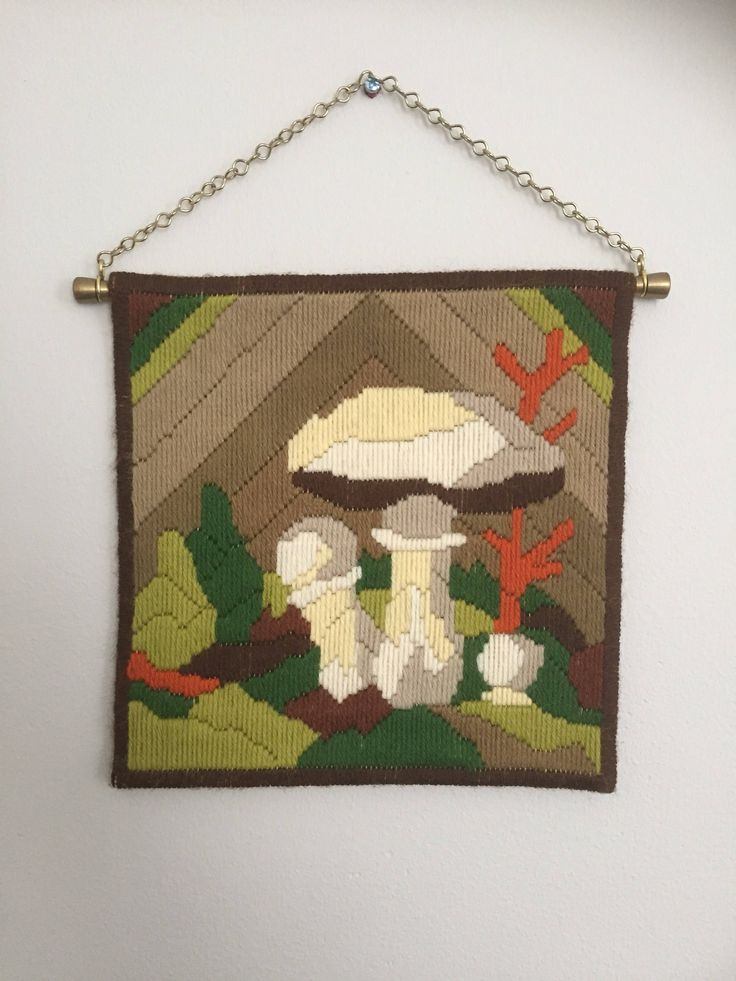 Vintage long stitch embroidered mushroom motiff wallhanging with brass hardware hanging chain by WifinpoofVintage on Etsy