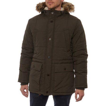 George UK Men's Puffer Coat with Faux Fur Hood, Size: Medium, Beige