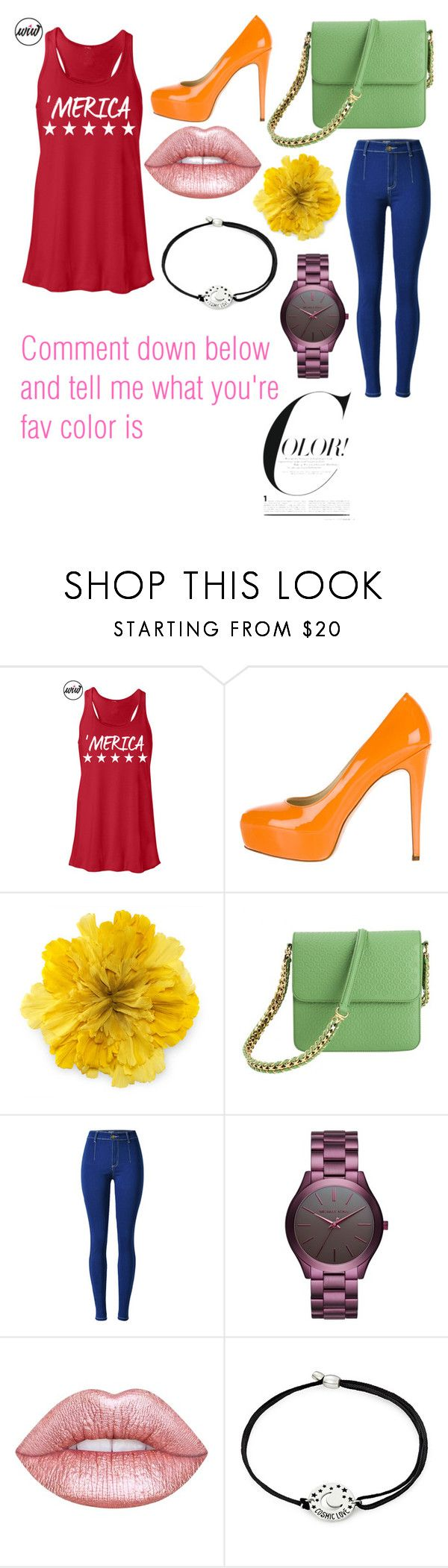 """""""What's Ure Fav Color???"""" by ashleyannmcd ❤ liked on Polyvore featuring Brian Atwood, Gucci, STELLA McCARTNEY, Michael Kors, Lime Crime and Alex and Ani"""