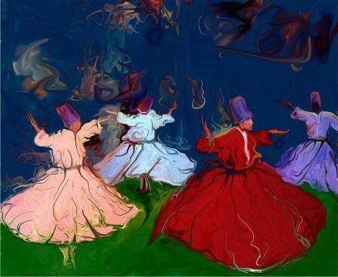 Islamic mysticism. Sufi whirling dervish.