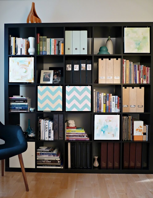 "expedit hack - diy painted canvases attached into shelves as ""doors"""
