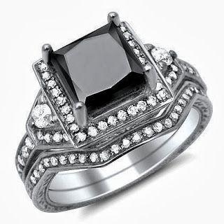 Princess Cut Black Diamond Engagement Ring Bridal SetStore Diamond Engagement RingDiamond Engagement Ring
