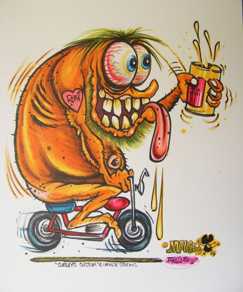 JOHNNY ACE Ed BIG DADDY Roth Rat Fink MOUSE! Original Art MONSTER Motorcycle! #JohnnyAceStudiosEdBIGDADDYRoth