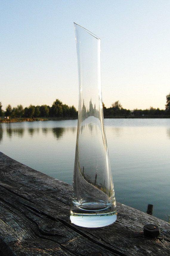 Vintage glass vase transparent glass vase long by MagicVintageShop