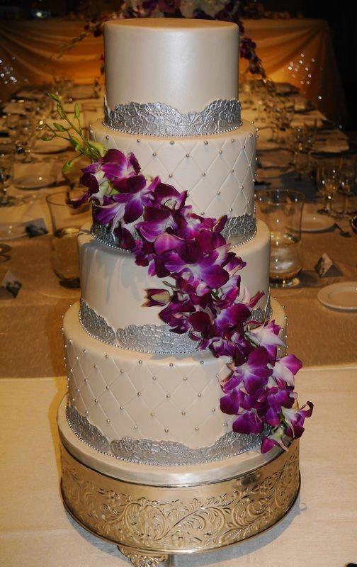 Orchid Wedding Cake #glam #orchids #orchidweddingcake #wedding #love #purple #beautiful #custom #sweetsisterchicsister