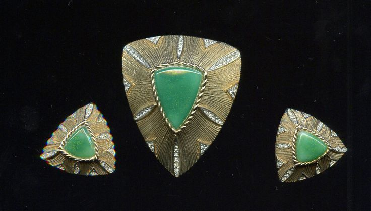 Vintage Art Deco 3 piece  Large Goldtone Brooch and Earring Set with Green Glass accented with Rhinestones Unusally Fabulous by waltermillerantiques on Etsy