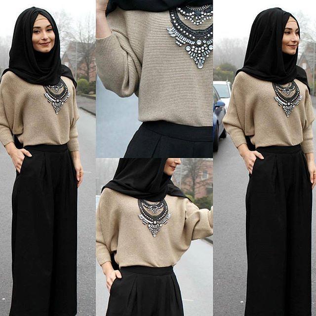 Moda, combinación y estilo de la mujer musulmana.