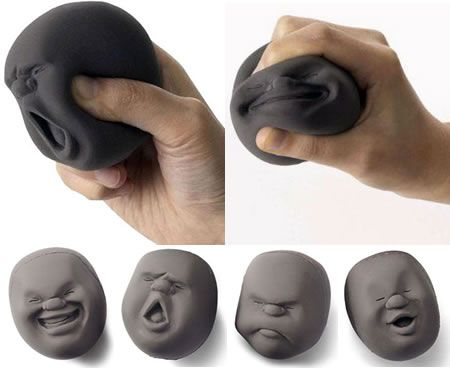 Moodi Men- they are the 4 new men in town!     An anti-stress face-ball of Japanese design which will have you in smiles within minutes.    A relaxing squeezable ball,which you can throw at people, as it's harmless because it's really soft; but, watch out!   We advice against any sort of belligerent use.     If it gets dirty, wash it with an anti-grease detergent, dry it and sprinkle a little starch or talcum powder on it. It will look as good as new.