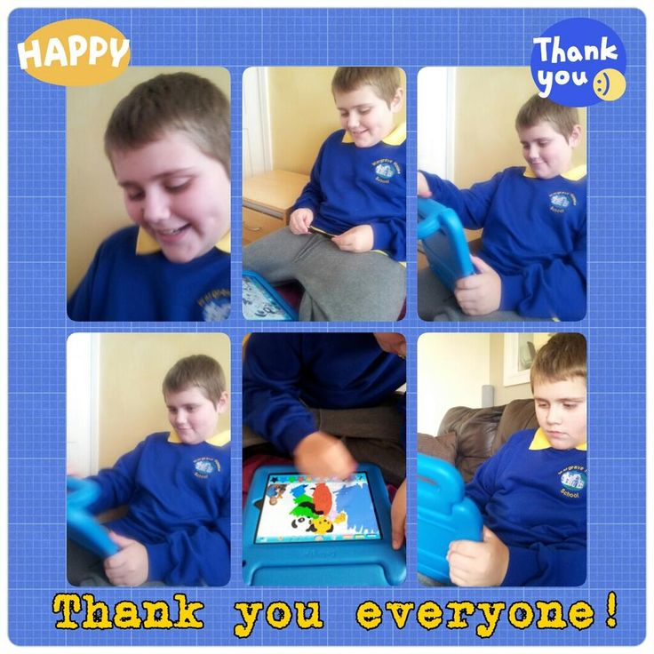 A happy child with #autism from Wigan receives his new iPad from Hearts and Minds