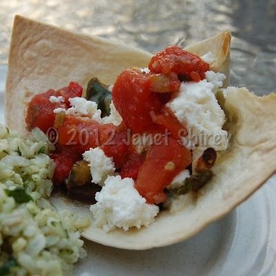 Grilled Veggie Tostada in a Tortilla Shell Cup with Crumbled Feta ...