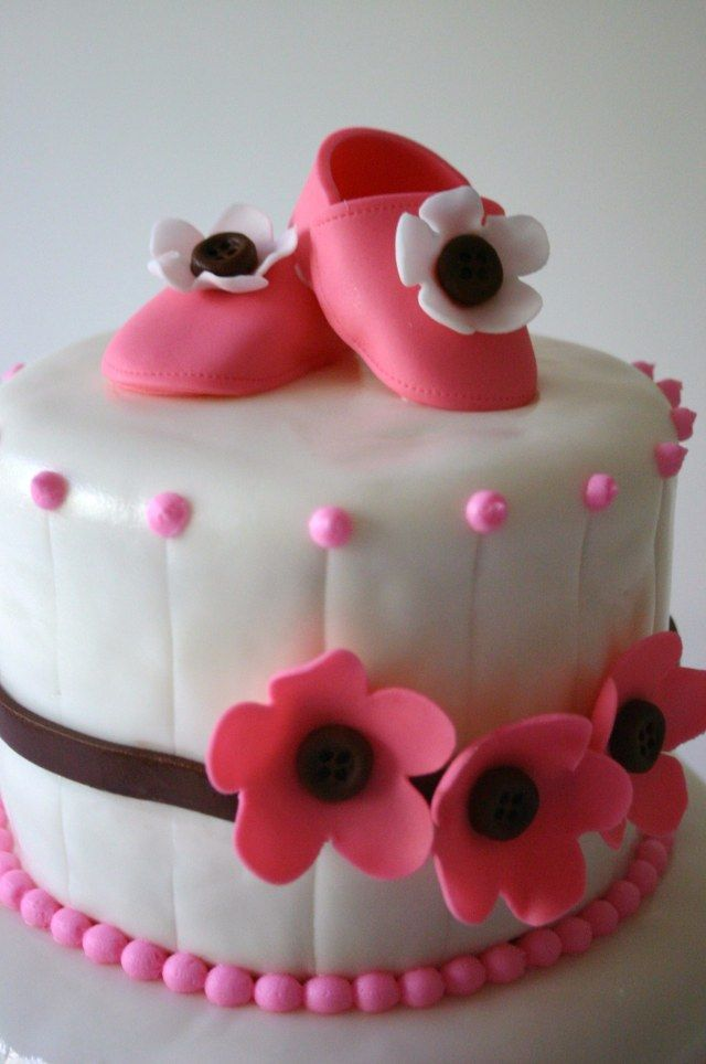 girly baby shower cake cute idea for buttons as flower centers