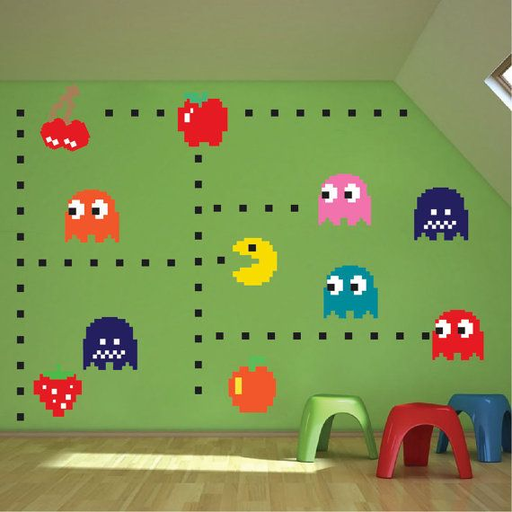 Atari Character Wall Decals (n52) SHEET SIZES (in inches – each sheet includes 4 fruit decals, 7 characters, and 48 dots) 16 sheet includes (4) 4