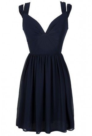 Dual Strap Off Shoulder Chiffon Dress in Navy lilyboutique