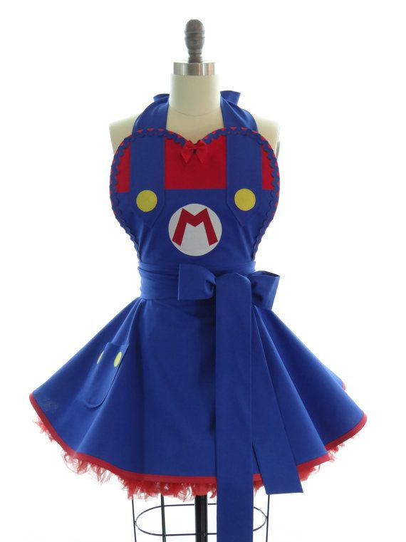 Retro Apron - Super Mario Sexy Womans Aprons - Vintage Apron Style - Nintendo Pin up Mario Brothers Rockabilly Cosplay Lolita