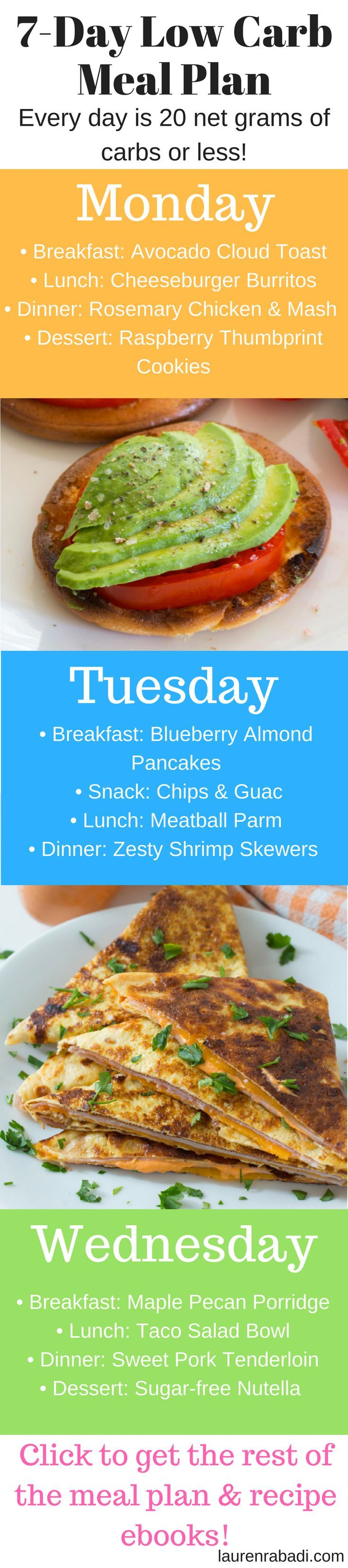 Low Carb 7 Day Meal Plan (with breakfast, lunch, dinner & dessert recipe ebooks!) #keto #lowcarb #whole30 #paleo #loseweightfast #loseweighteasy