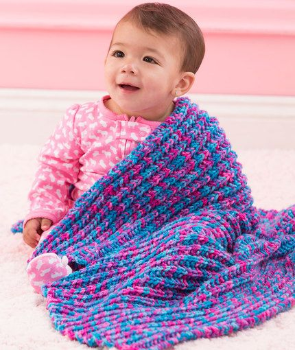 One-Row Baby Blanket Free Knitting Pattern in Red Heart Yarns New, New Free...
