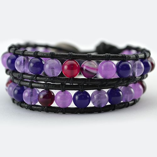 Our Inspiration mix wrap bracelet has been designed with a combination of natural light Amethyst, deep purple Amethyst, Alexandrite and Pink Stripe Agate Gemstones. What a wonderful piece to wear! The natural properties of these stones make this a power wrap bracelet. Amethyst will help you connect with your spirit at the deepest level, a master healer stone and excellent aid for meditation. Promoting and strengthening Love and Joy in your life with…