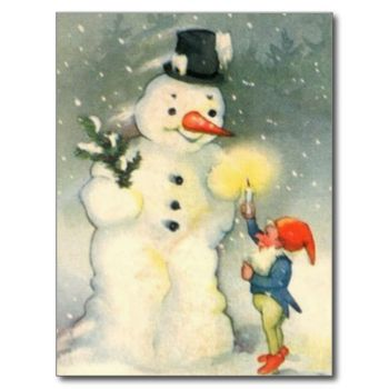One of Santa's elves holds a lighted candle up for a snowman to see in this delightful Victorian era art image. Celebrate the Holidays the old fashioned way! #elf #snowman #santa's #elf #candle #victorian #era #christmas #victorian #era #art #victorian #era #holidays #snow #christmas #caricatures #old #fashioned #christmas #christmas #fun