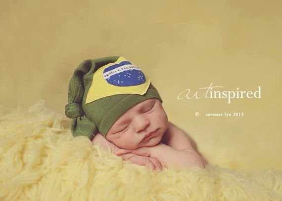 Heritage hat, country hat, brazil hat, personalized hat, newborn photo prop, baby hat, upcycle hat