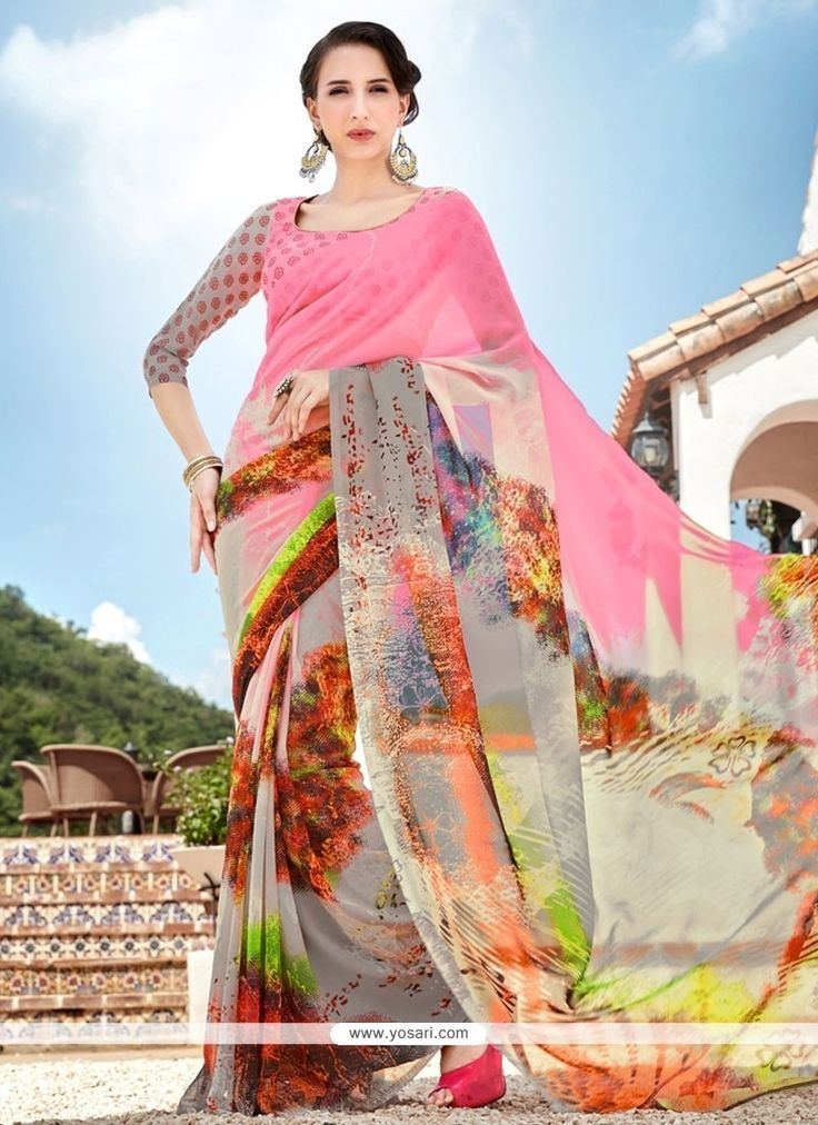 Charming Georgette Multi Colour Printed Saree Model: YOSAS0557