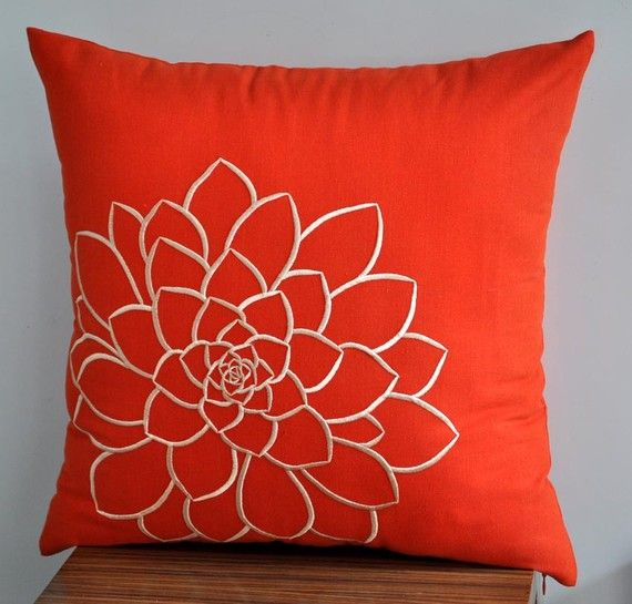 Stunning Pillow cover which made from Red Orange linen and embroidered with big succulent pattern in beige color. This pillow cover has hidden zipper at the bottom side and it is available in size 16 x 16, size 18 x 18, size 20 x 20, size 24 x 24 and size 26 x 26. Choose the size you need