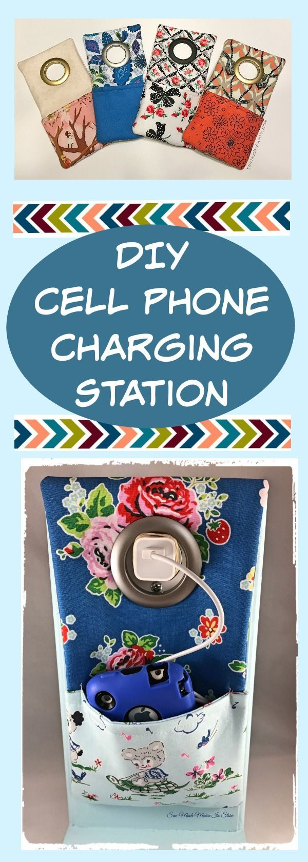 DIY Cell Phone Charging Station. You have the choice between a Ready to Sew kit or a Free Pattern Download. You can use your fabric scraps to make this fun and functional project. Makes a great teen or tween gift too! Perfect sewing kit for the beginning sewer / sewist.