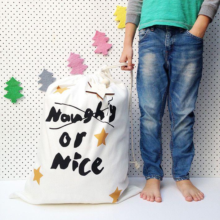 Naughty or Nice Christmas Santa Sack – Taylor + cloth handmade textiles + homewares
