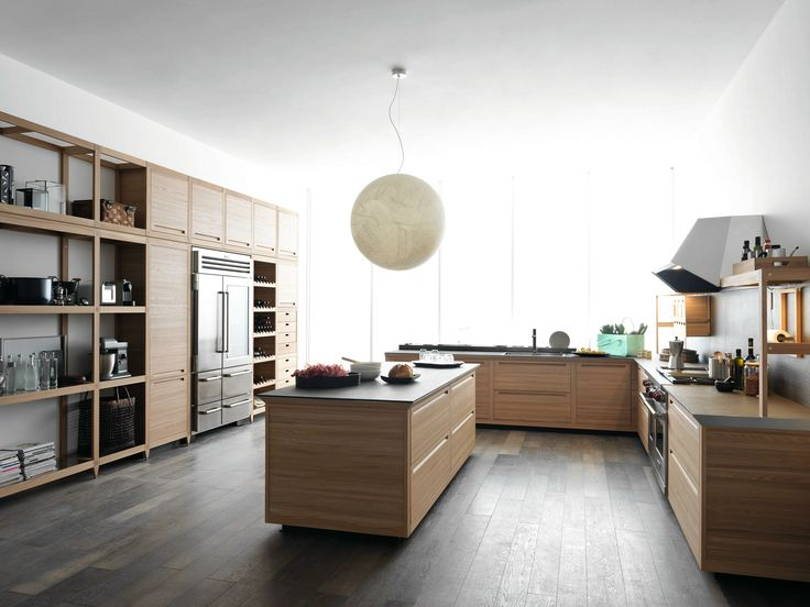 Wooden Fitted Kitchen With Island SineTempore New Mosaic SineTempore  Collection By VALCUCINE | Design Gabriele Centazzo