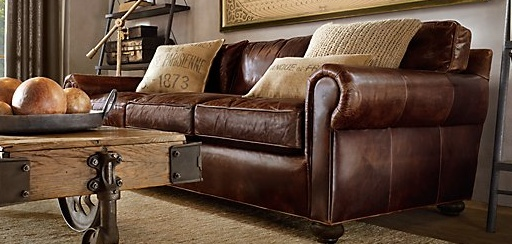old distressed leather couch for family room