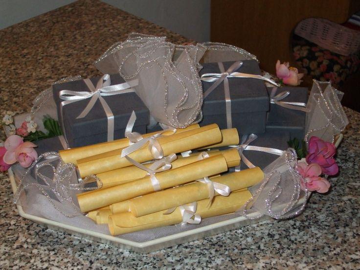 Bomboniere e pergamena menù pranzo del mio 25°anniversario di matrimonio