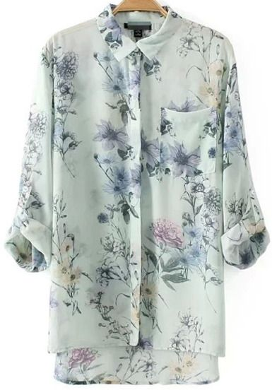 White Lapel Long Sleeve Floral Pocket Chiffon Blouse pictures