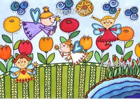 Tündérkék virágok között, Baba-mama-gyerek, Otthon, lakberendezés, Képzőművészet , Falikép, !!!AKCIÓ!!! Ha valaki 3, 4 vagy 5 terméket vásár...