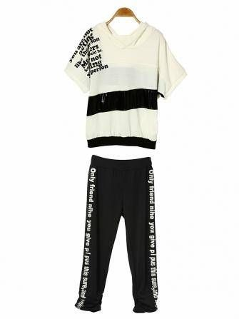 Casual Letter Pattern Loose Cotton Sport Suit Hooded Set