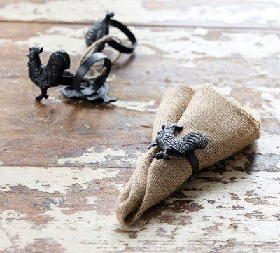 """These sturdy Cast Iron Rooster Napkin Rings are perfect for any farmhouse kitchen! - 2"""" x 2"""" - Sold individually. One napkin ring per order."""