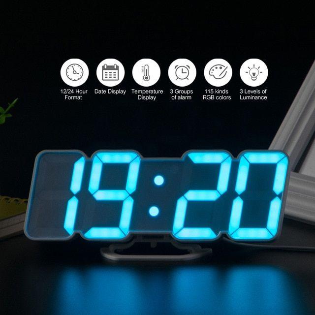 3d Wireless Remote Digital Alarm Clock Usb Powered Temperature Date Display Rgb Led 3 Level Brightness Sound Control W Clock Digital Alarm Clock Led Wall Clock