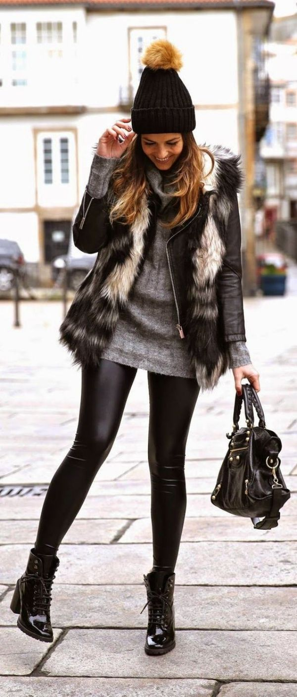 56 New Years Eve Party Outfit Ideas 2017 - Latest Fashion Trends . Hat, black, short dress, tights, faux fur, black boots