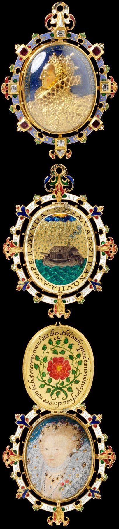 "'The Heneage Jewel'  [locket]  Also called 'The Armada Jewel'  --  1595  --  Painting by Nicholas Hilliard.  ""Elizabeth I is said to have given this jewel to Sir Thomas Heneage, a Privy Counsellor  the Vice-Chamberlain of the Royal Household.  Via The Victoria  Albert Museum."