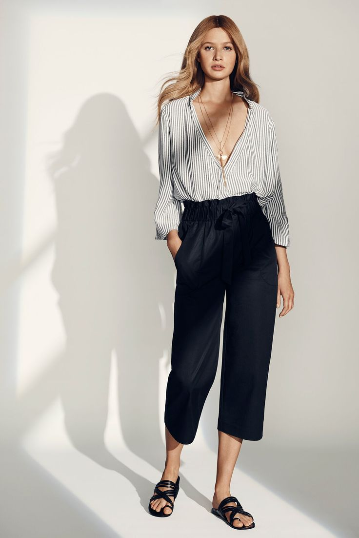 Stripe Wrap Blouse and Navy Cropped Pant. #seedheritage