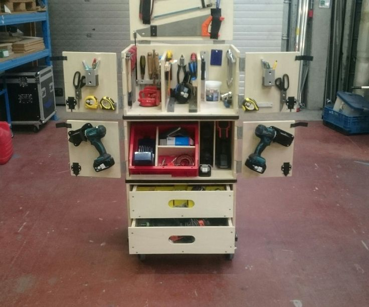 Hi there, i'm a Carpenter who is a lot on the road to decorate shops and put up exposition fairsi have searched for a good mobile toolbox that is also easy to handle and were the tools are clearly visible and easy accesible..because i didn't find what i was looking for i decided to make one myself!!the cabinet dimensions are 130 cm height65 cm width47 cm depthbecause it would not be possible for one person to lift this in and out the van without breaking his back i made it in 4 piecesplease…