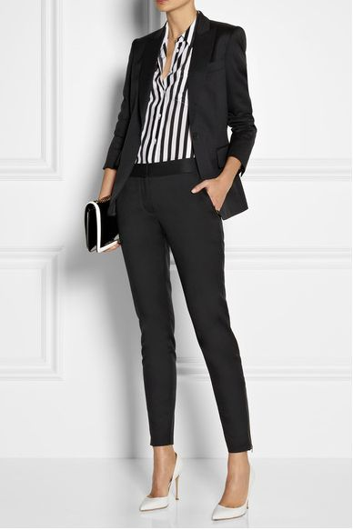 Pretty much what I'd wear to work.  The blouse adds interest to b&w.  Like the idea of white shoes (unexpected).