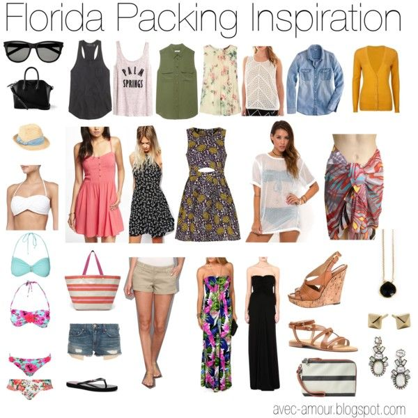 Florida packing inspiration board by reneecutaia on Polyvore featuring moda, Topshop, Express, Rick Owens, J.Crew, Equipment, A.N.A, MaxMara, H&M and Lipsy