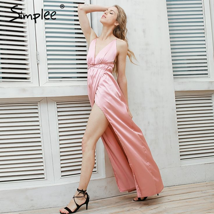 Cheap vestidos sexy, Buy Quality dresses for large ladies directly from China dresses color Suppliers:                                                                                  Simplee Slip satin backless s