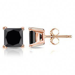 b526b9419 14k Gold Size: 2 carat TDW Princess Cut Black Diamond Stud Earrings by  Auriya (