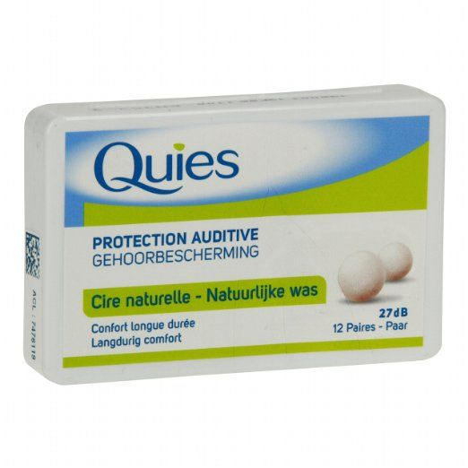 Quies Wax Ear Plugs - 12 pairs.  Available from Amazon for $17