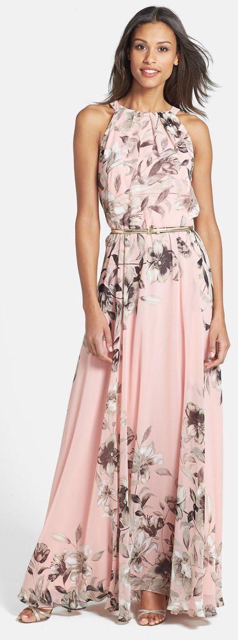 Belted Chiffon Maxi Dress